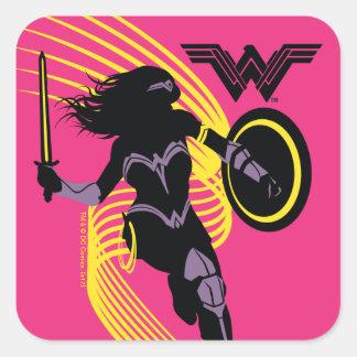 Sticker Carré Icône de silhouette de femme de merveille de la