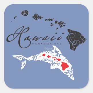 Sticker Carré Îles de dauphins d'Hawaï
