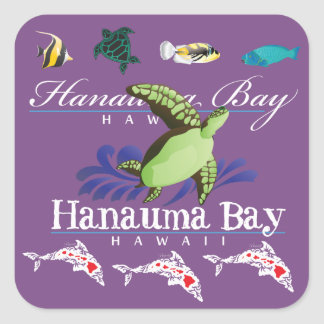 Sticker Carré Îles de tortue de dauphins d'Hawaï