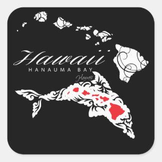 Sticker Carré Îles d'Hawaï de dauphins d'Hawaï