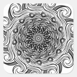 Sticker Carré Illusion optique de griffonnage fleuri de zen