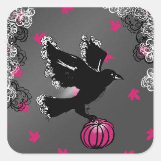 Sticker Carré illustration de Halloween d'un corbeau et d'un