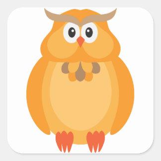 Sticker Carré Illustration de hibou de couleur d'automne de