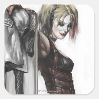 Sticker Carré Illustration de la ville   Harley Quinn de Batman