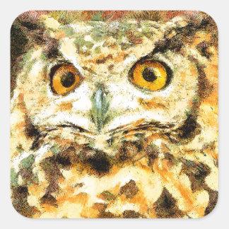 Sticker Carré Illustration mignonne de hibou