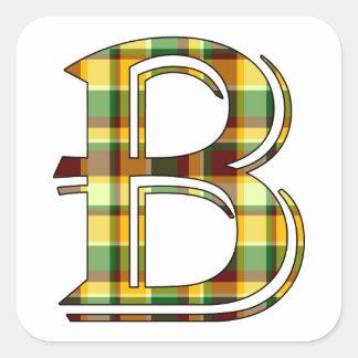 Sticker Carré Initiale de plaid de B