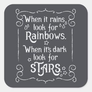 Sticker Carré Inspiration quand il pleut et joint foncé