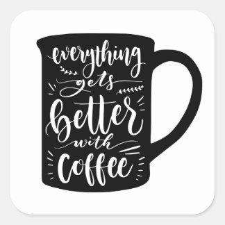 Sticker Carré Intoxiqué drôle Java, citation de café de caféine