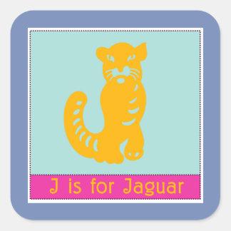 Sticker Carré J est pour l'alphabet animal de Jaguar pour des
