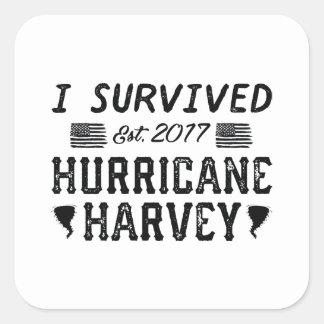 Sticker Carré J'ai survécu à l'ouragan Harvey
