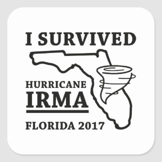 Sticker Carré J'ai survécu à l'ouragan Irma