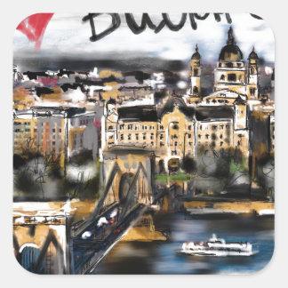 Sticker Carré J'aime Budapest