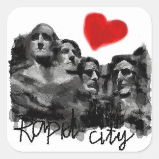 Sticker Carré J'aime la ville rapide