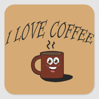 Sticker Carré J'aime le café