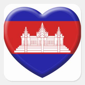 Sticker Carré j'aime le Cambodge
