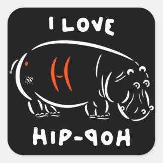 Sticker Carré J'aime le hip-hop (et les hippopotames) !