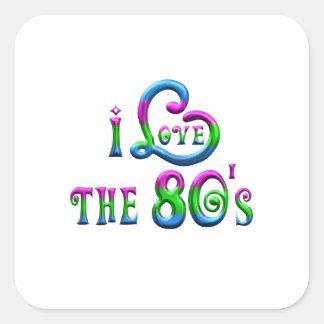 Sticker Carré J'aime les années 80