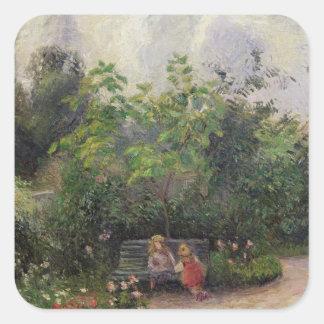 Sticker Carré Jardin de Camille Pissarro | à l'ermitage