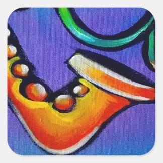 Sticker Carré Jazz et tambours