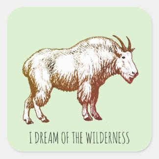 Sticker Carré Je rêve de la chèvre de montagne de région sauvage