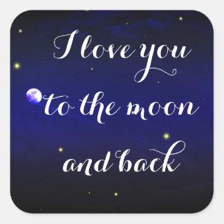 Sticker Carré Je t'aime à la lune et à l'autocollant arrière de