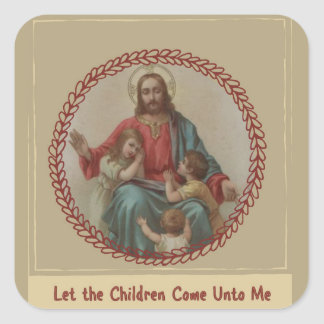 Sticker Carré Jésus avec le chrétien Homeschool d'enfants