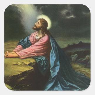 Sticker Carré Jésus-Christ vintage priant dans Gethsemane