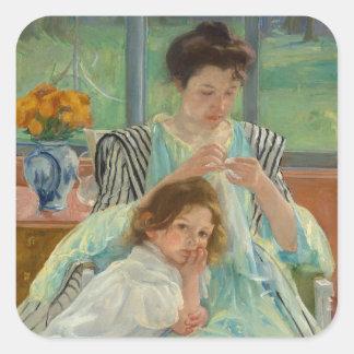 Sticker Carré Jeune couture de mère
