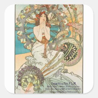Sticker Carré Jeune fille française dans la prière