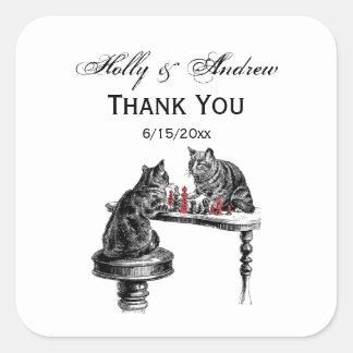 Sticker Carré Jeux de société deux chats jouant le rouge de