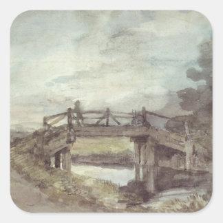 Sticker Carré John Constable   un pont au-dessus du Stour