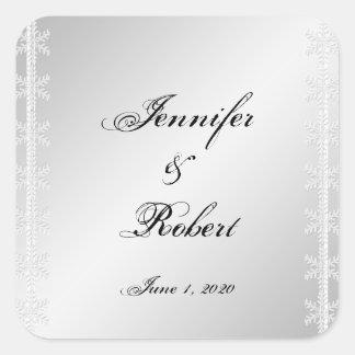 Sticker Carré Joint blanc d'enveloppe de mariage d'hiver de