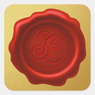 Sticker Carré Joint de la cire de Père Noël avec l'autocollant