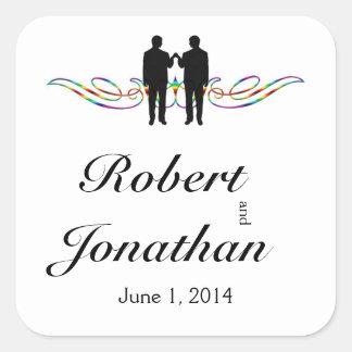 Sticker Carré Joint d'enveloppe de mariage de marié d'élégance