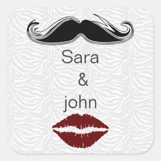 Sticker Carré joint d'enveloppe de rayures de zèbre de baiser et