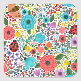 Sticker Carré Joint écervelé floral doux et coloré d'autocollant
