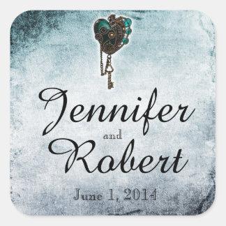 Sticker Carré Joint turquoise d'enveloppe de mariage de coeur de