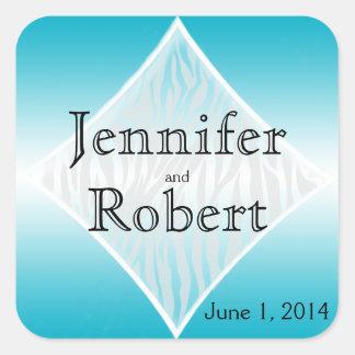 Sticker Carré Joint turquoise et blanc d'enveloppe de diamant de