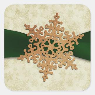 Sticker Carré joint vert rustique d'enveloppe de flocon de neige