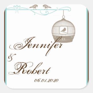Sticker Carré Joint vintage d'enveloppe de mariage d'Aqua de