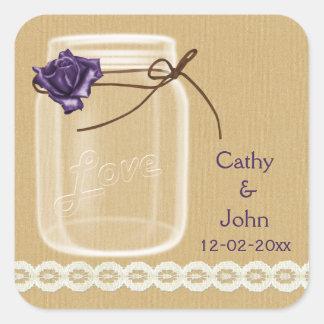 Sticker Carré joints d'enveloppe de pot de maçon de toile de