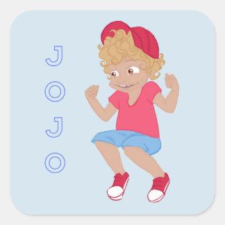 Sticker Carré JoJo - lt Blue Bkgrd