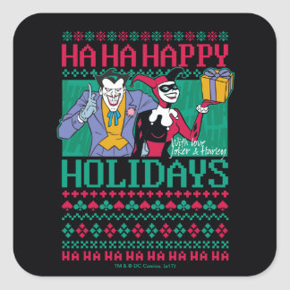 Sticker Carré Joker et Harley Quinn de Batman   bonnes fêtes