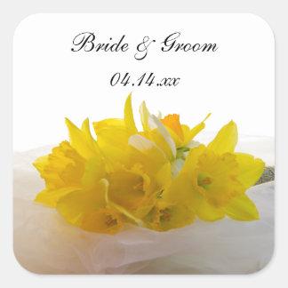Sticker Carré Jonquilles jaunes sur le mariage blanc de ressort