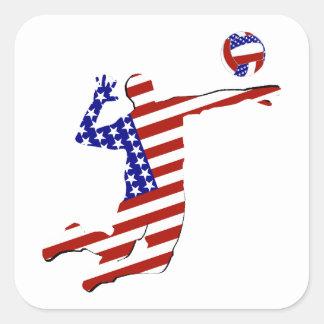 Sticker Carré Joueur de volleyball cent pour cent américain