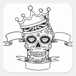 Sticker Carré Jour de crâne du crâne mort de sucre de couronne