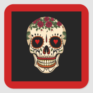 Sticker Carré Jour du crâne mort de sucre