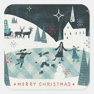 Sticker Carré Joyeuse scène de patinage de Christmastime