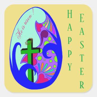 Sticker Carré Joyeuses Pâques