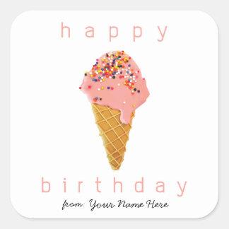 Sticker Carré Joyeux anniversaire de cornet de crème glacée fait